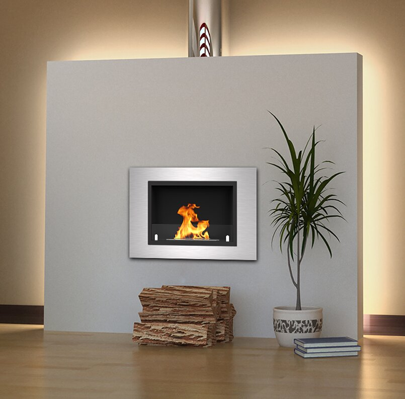 Captivating Loyd Ventless Recessed Wall Mounted Bio Ethanol Fireplace
