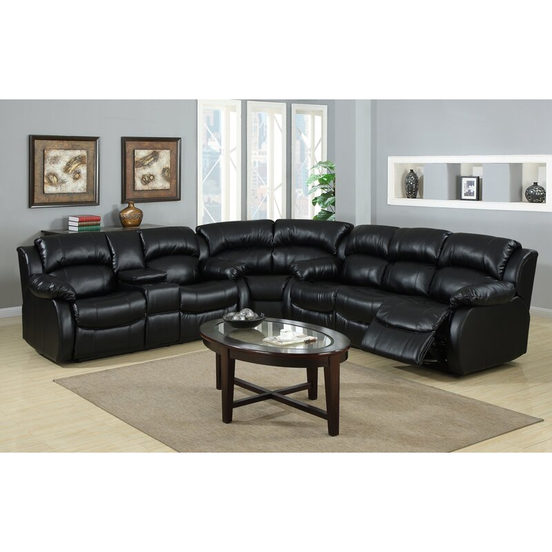 Red Barrel Studio Poteat 193 Wide Faux Leather Reclining Large Sectional