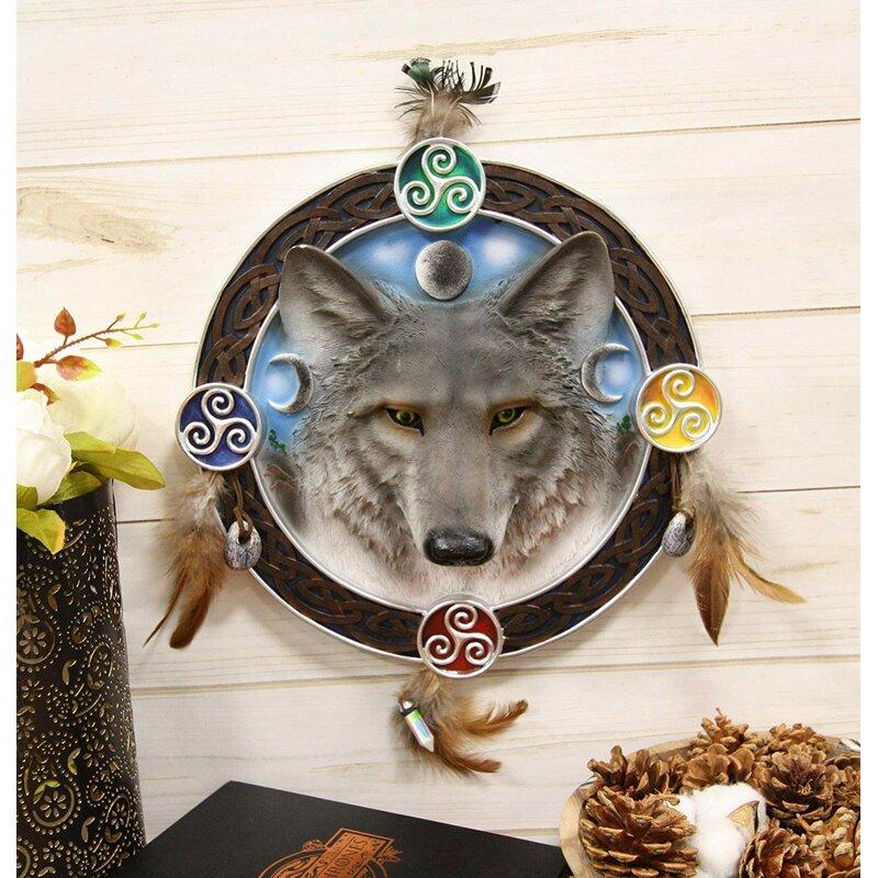 Triple Goddess Triskele Trinity Celtic Alpha Wolf Round Dreamcatcher Wall Décor