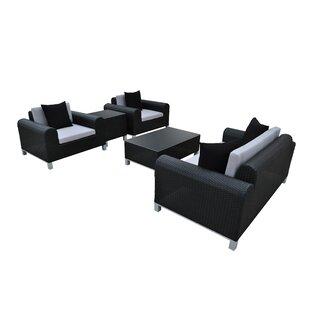 Amora 5 Piece Rattan Sofa Set with Cushions