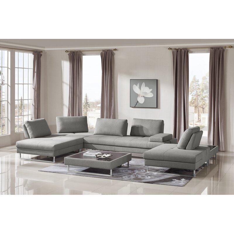 Wensley Modern Fabric Sectional Sofa 4 Piece Living Room Set | AllModern