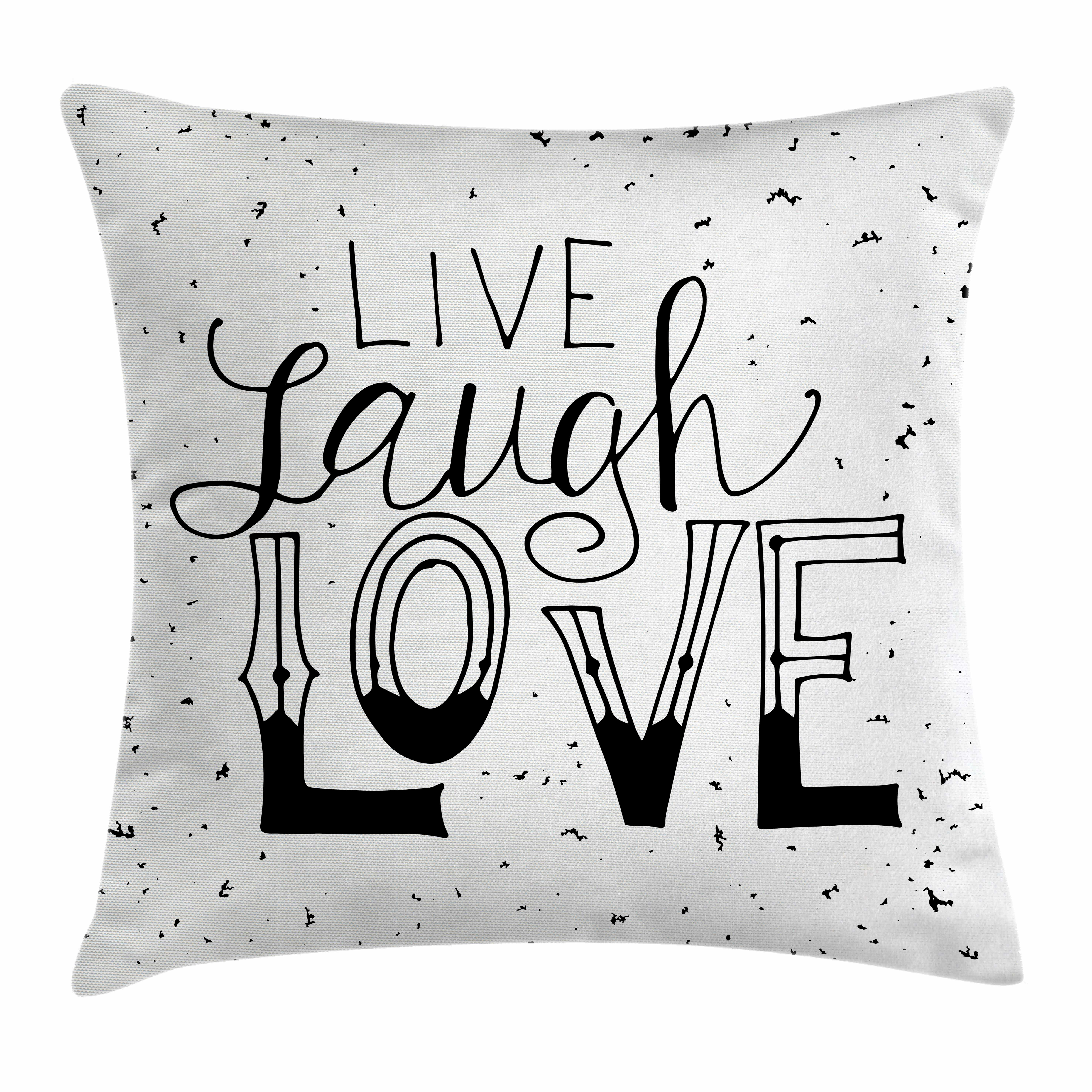 Live Laugh Love Quote Hipster Square Pillow Cover