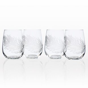 Peacock 17 oz. Stemless Wine Glass (Set of 4)