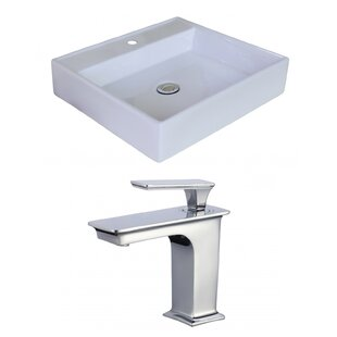 American Imaginations Ceramic Square Vessel Bathroom Sink with Faucet and Overflow