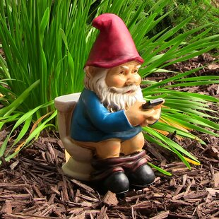 Bon Whitecavage Cody The Gnome Reading Phone On The Throne Gnome Statue
