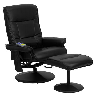 Heated Reclining Massage Chair Ottoman Red Barrel Studio