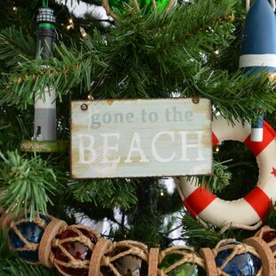 gone to the beach christmas tree shaped ornament by handcrafted nautical decor