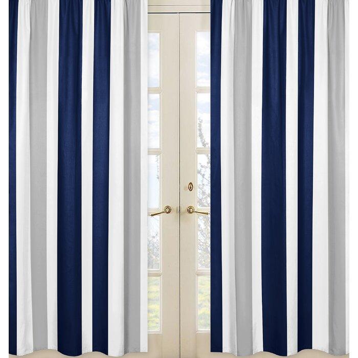 Stripe Striped Semi Sheer Rod Pocket Curtain Panels