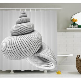 White Shell Shaped Figure Single Shower Curtain