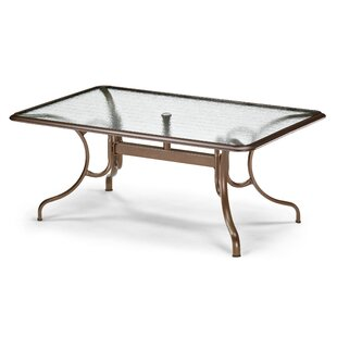 Glass Tables Deluxe Rectangle Ogee Rim Aluminum Dining Table