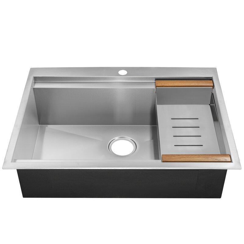 "AKDY  30"" x 22"" Drop-In Top Mount Stainless Steel Single Bowl Kitchen Sink w/ Tray"