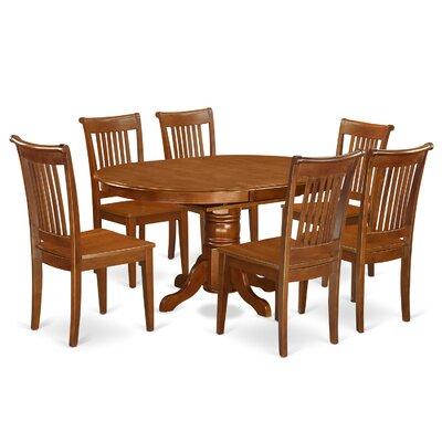 Emmaline 7 Piece Solid wood Dining Set Alcott Hill Color: Saddle Brown