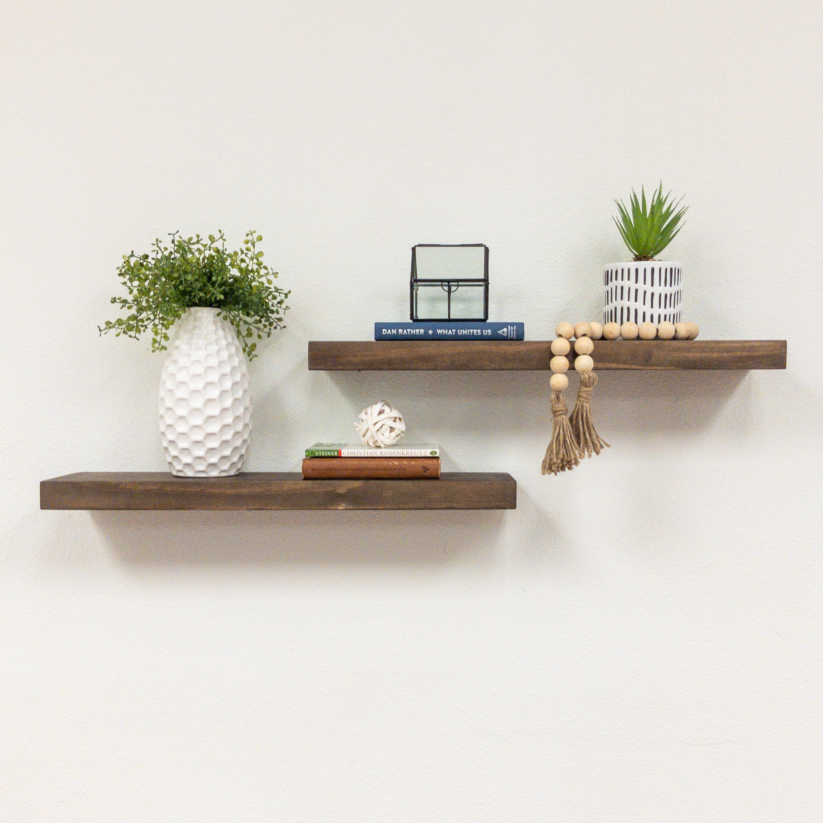 Set of 2 Oil Finish Curved Edge Solid Wood Floating Shelves 12 inches x 6 inches