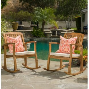 Amazing Deal Coyne Acacia Rocking Chair (Set of 2) Beachcrest Home