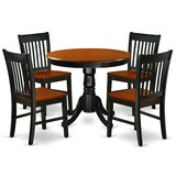 Delois 5 - Piece Rubberwood Solid Wood Breakfast Nook Dining Set by Alcott Hill®