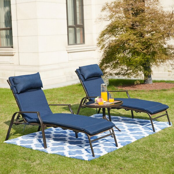 Darby Home Co Wabbaseka 63 Long Reclining Chaise Lounge Set With Cushion With Table Reviews Wayfair