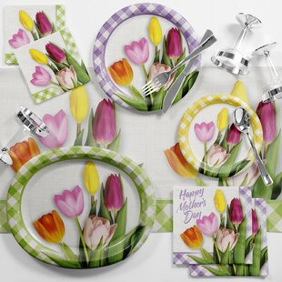 Spring Tulips Mother's Day Brunch Paper/Plastic Disposable Party Supplies Kit