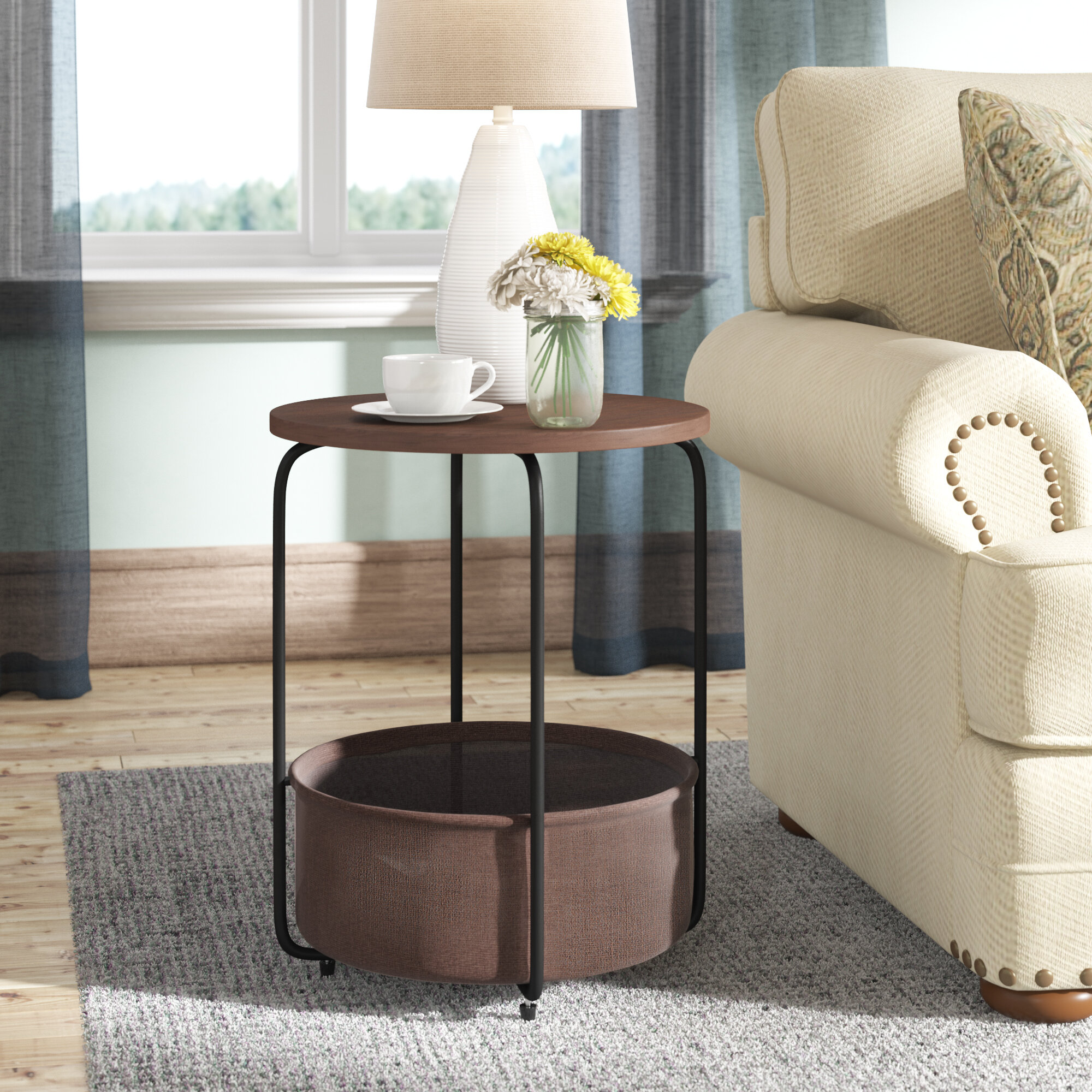 Picture of: Gracie Oaks Alvin Modern Round End Table With Storage Reviews Wayfair
