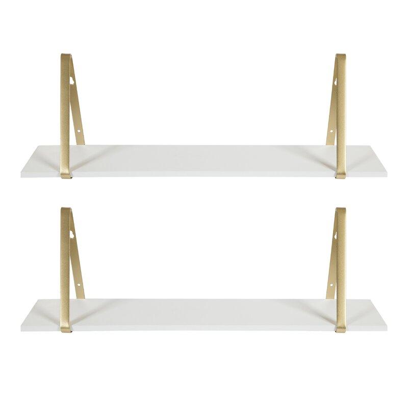 Mcmartin 2 Piece Fir Bracket Shelf (Set of 2)