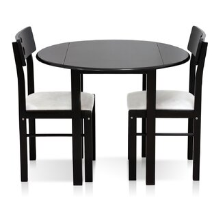 Frankel Cos-Drop Leaf Solid Wood 3 Piece Dining Set Ebern Designs