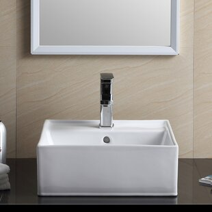 Affordable Price Modern Vitreous China Square Vessel Bathroom Sink ByFine Fixtures