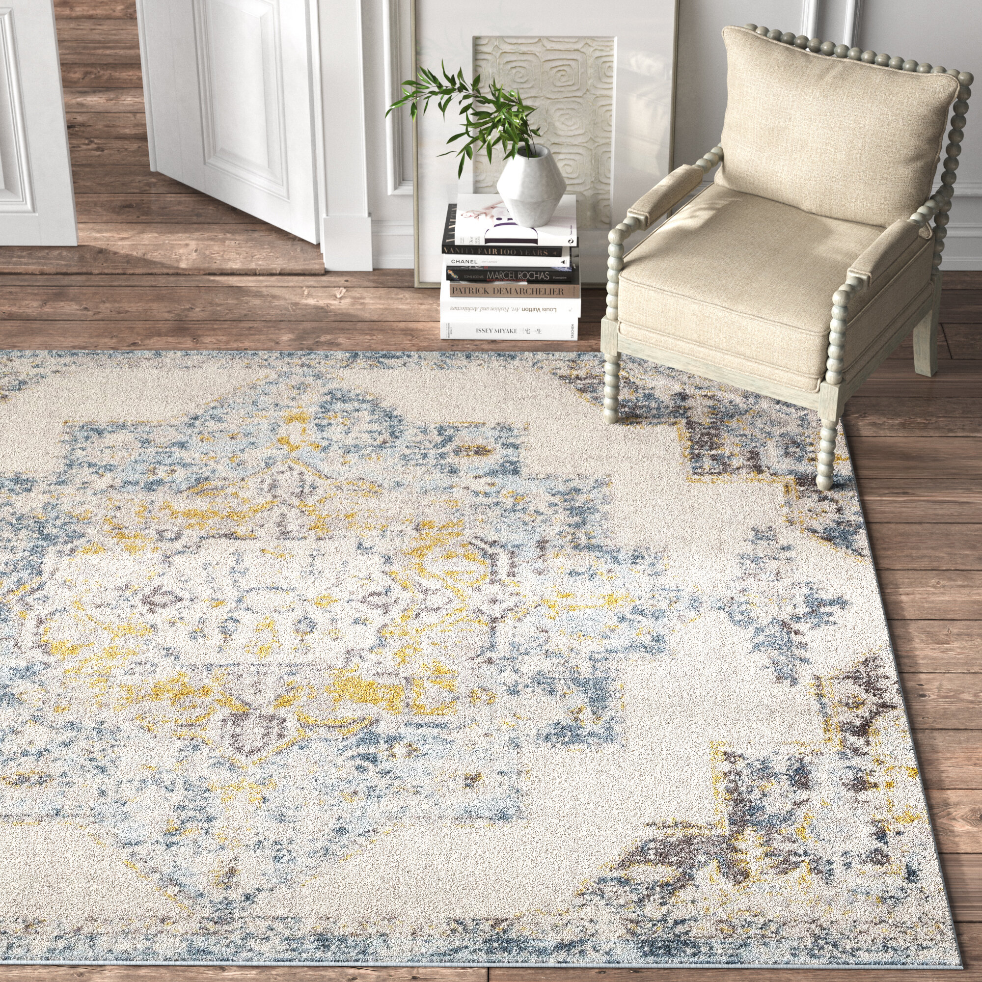 Kelly Clarkson Home Walker Distressed Oriental Bright Yellow Area Rug Reviews Wayfair