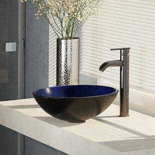 Reviews Glass Circular Vessel Bathroom Sink with Faucet ByRené By Elkay