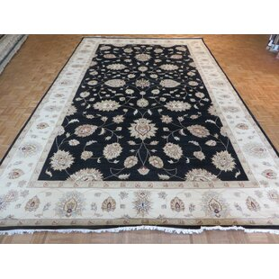 Inexpensive One-of-a-Kind Bearfield Peshawar Oushak Hand-Knotted Black Area Rug By Isabelline