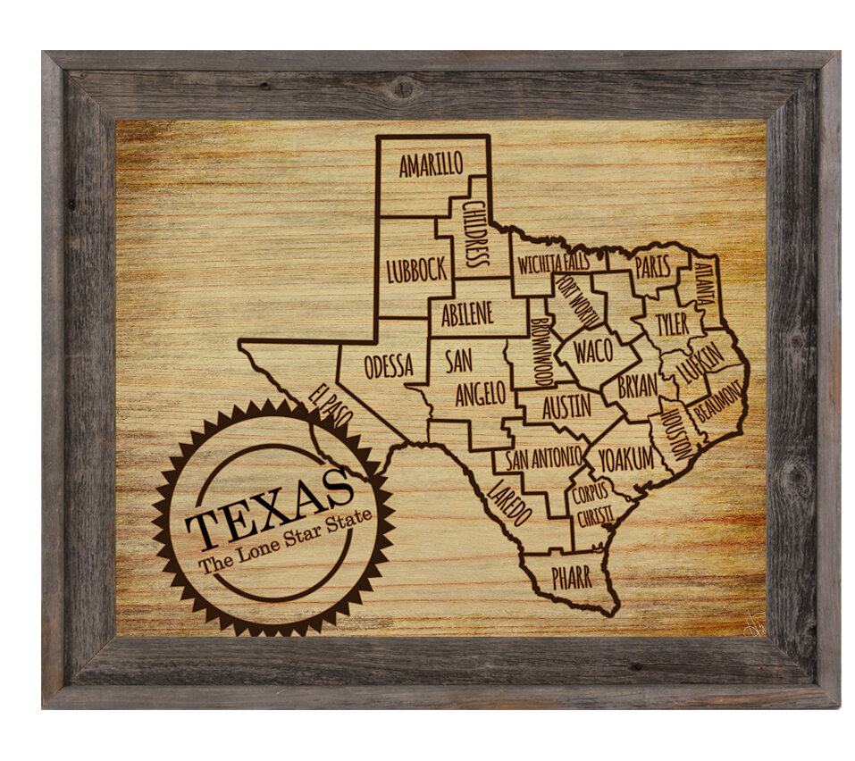 Click Wall Art \'The Lone Star State\' Framed Graphic Art | Wayfair