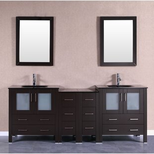 Amara 84 Double Bathroom Vanity Set with Mirror by Bosconi