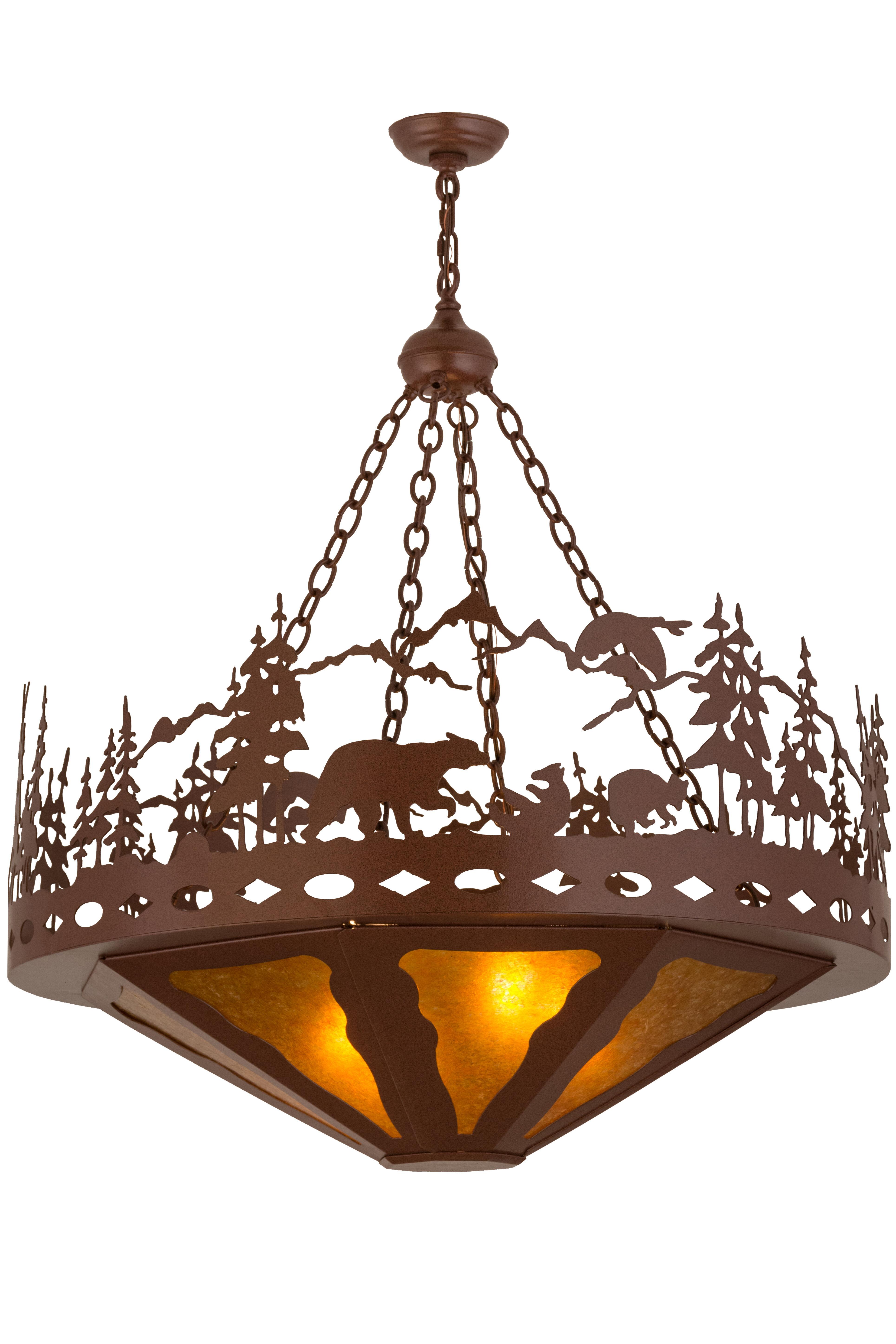Meyda Tiffany Greenbriar Oak 4 Light Unique Statement Bowl Pendant Wayfair