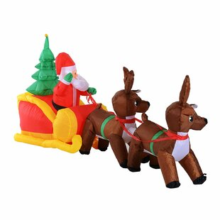 inflatable santa claus sledge sleigh with reindeer - Horse Christmas Decorations Uk