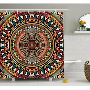 Clark Tribal African Folkloric Tribe Round Pattern With Ethnic Colors Aztec Art Single Shower Curtain