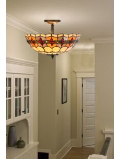 Astoria Grand Paule Tiffany Style Stained Glass Geometric Rosette 2-Light Semi Flush Mount