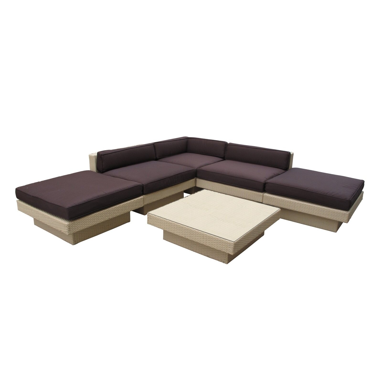 Modway Luxury 6 Piece Rattan Sectional Set with Cushions & Reviews