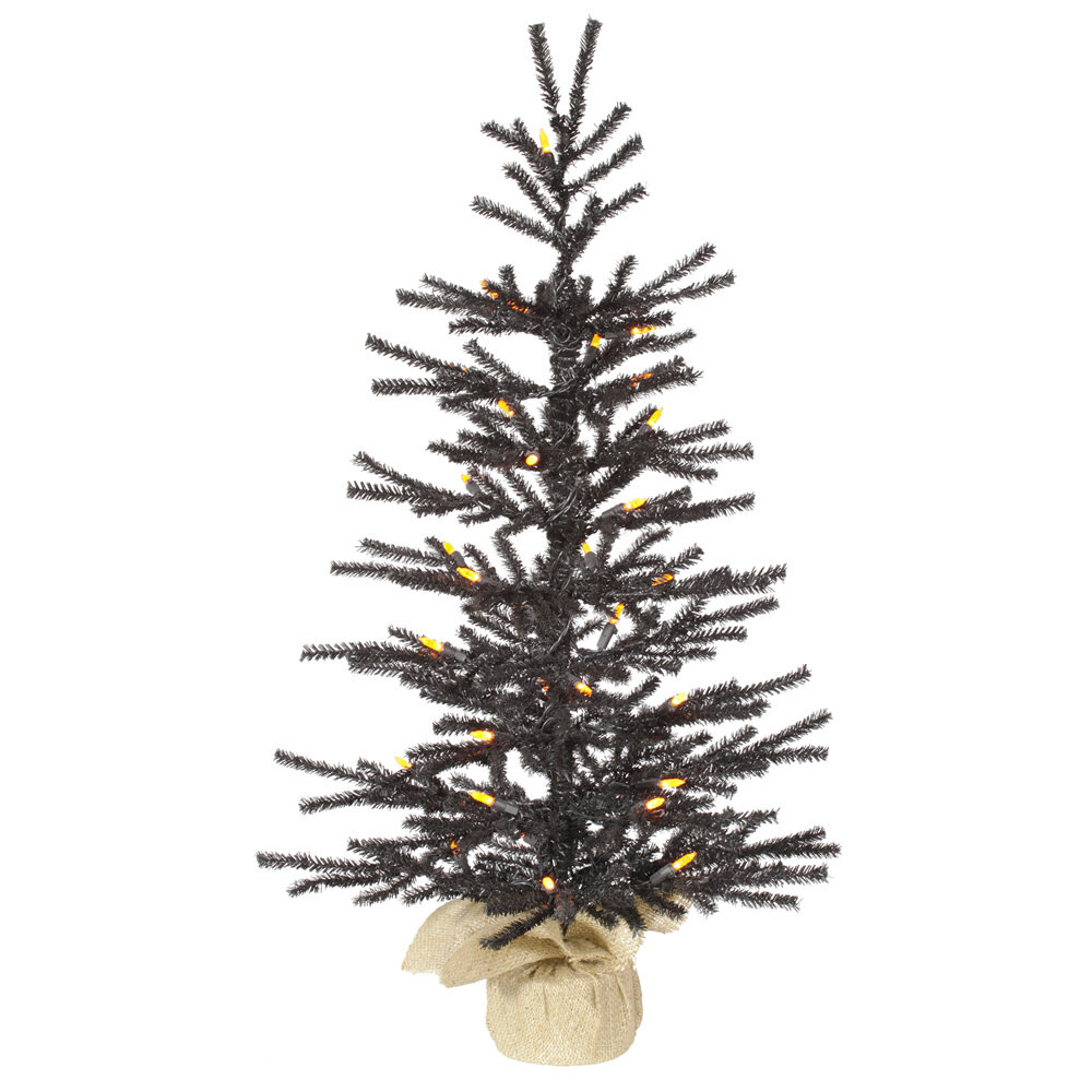 vickerman pistol 25 black artificial christmas tree with 35 led orange lights with stand reviews wayfair - Black Artificial Christmas Tree
