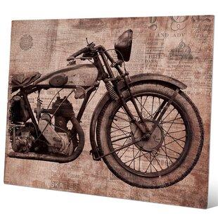 U0027Vintage Motorcycle Redu0027 Graphic Art Print On Metal