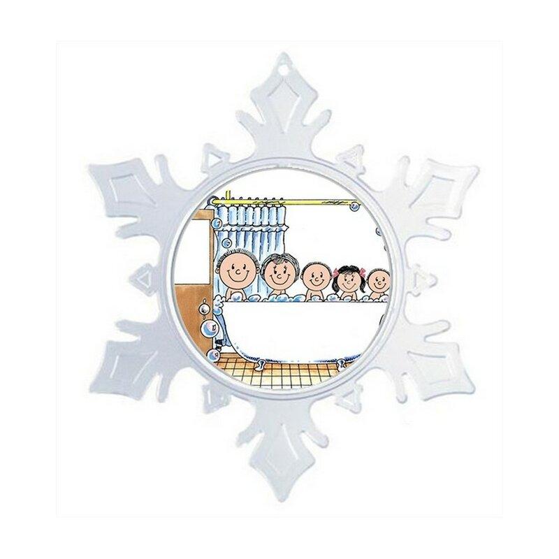 The Holiday Aisle Personalized Friendly Folks Cartoon Snowflake Tub Time One Girl Two Boys Christmas Holiday Shaped Ornament Wayfair