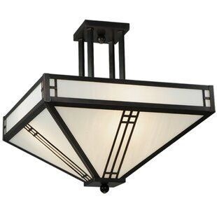 Meyda Tiffany Prairie Loft Mission 4-Light Semi Flush Mount