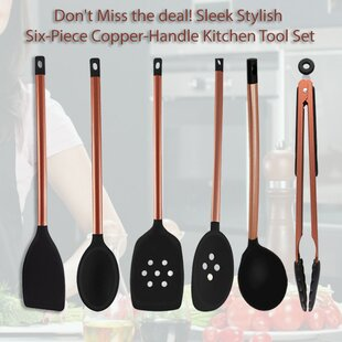 6-Piece Multipurpose Non-Stick Silicone with Copper Handles Cooking Kitchen Utensil Tool Set By Volar Ideas