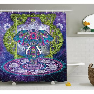 Alep Mandala Out Space Image Shower Curtain + Hooks