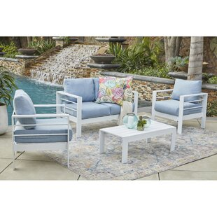 Wrought Studio Midford 4 Piece Conversation Set with Cushions