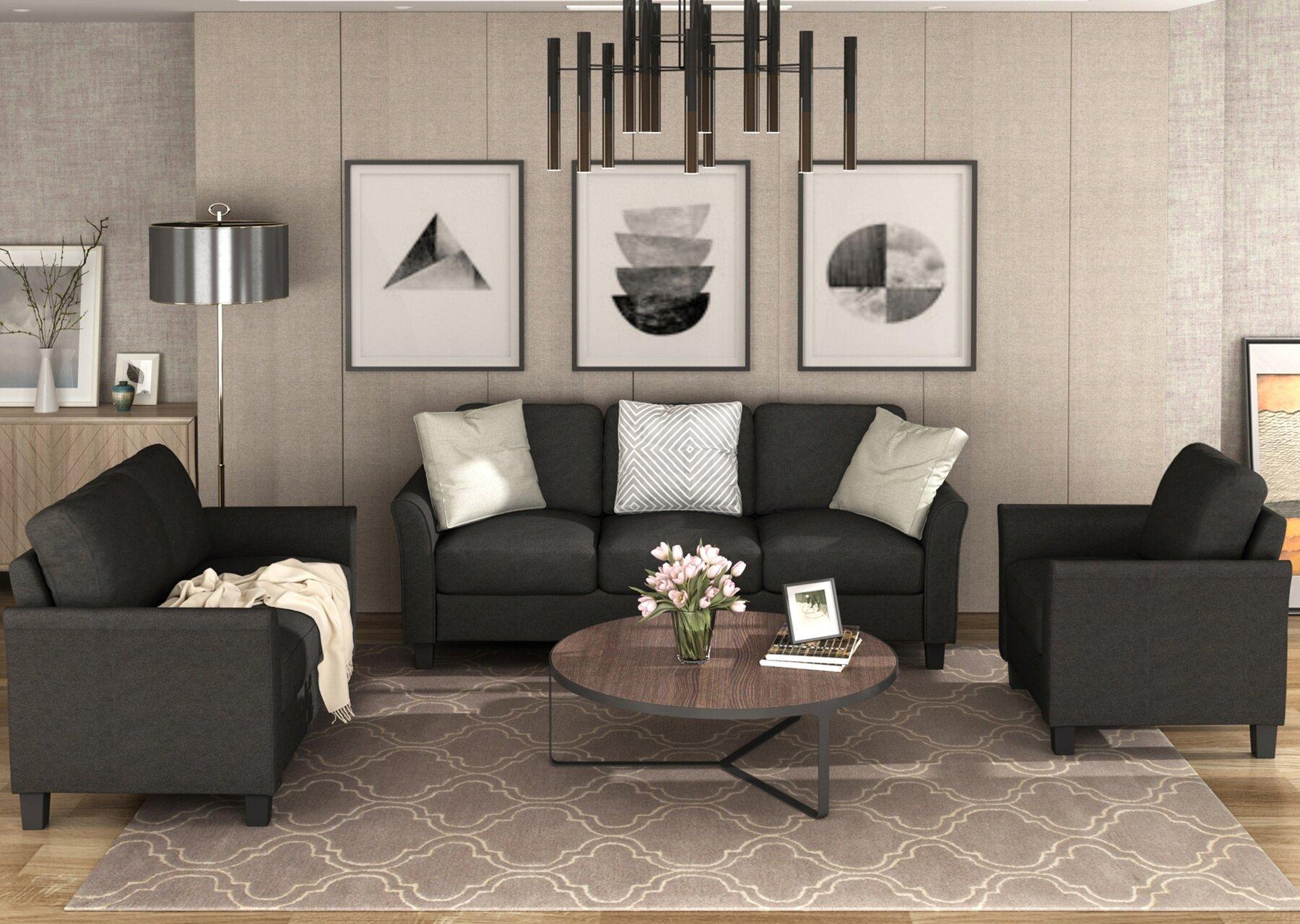 Living Room Sets Furniture Armrest Sofa Single Chair Sofa Loveseat Chair  11-seat Sofa (chairloveseat Chair&11-seat Sofa, Black)