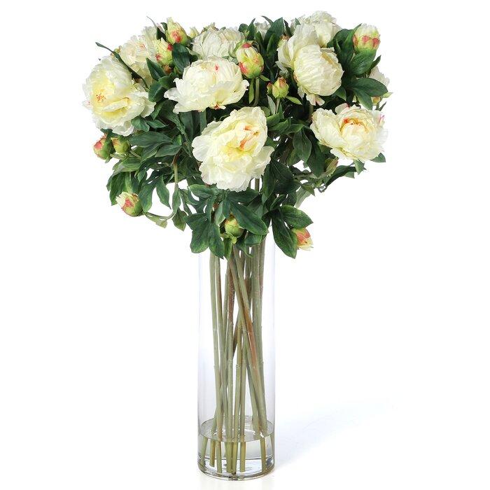 Giant Peony Silk Flower Arrangement In White