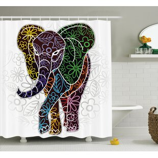 Chaibate Digital Big Elephant Figure With Floral Lines and Tribal Shapes Wild Life Image Single Shower Curtain