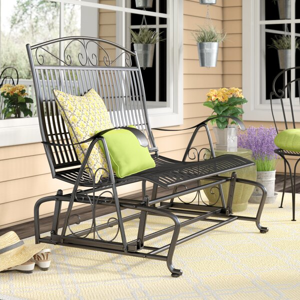 Three Posts Snowberry Iron Double Patio Glider Bench U0026 Reviews | Wayfair