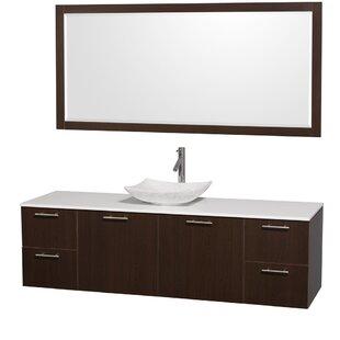New Style Amare 72 Single Espresso Bathroom Vanity Set with Mirror ByWyndham Collection