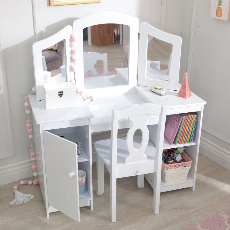 Kidkraft Deluxe 2 Piece Vanity Set With Mirror Amp Reviews
