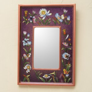 Novica Meadow Vibrant Collectible Reverse Painted Glass Wall Mirror