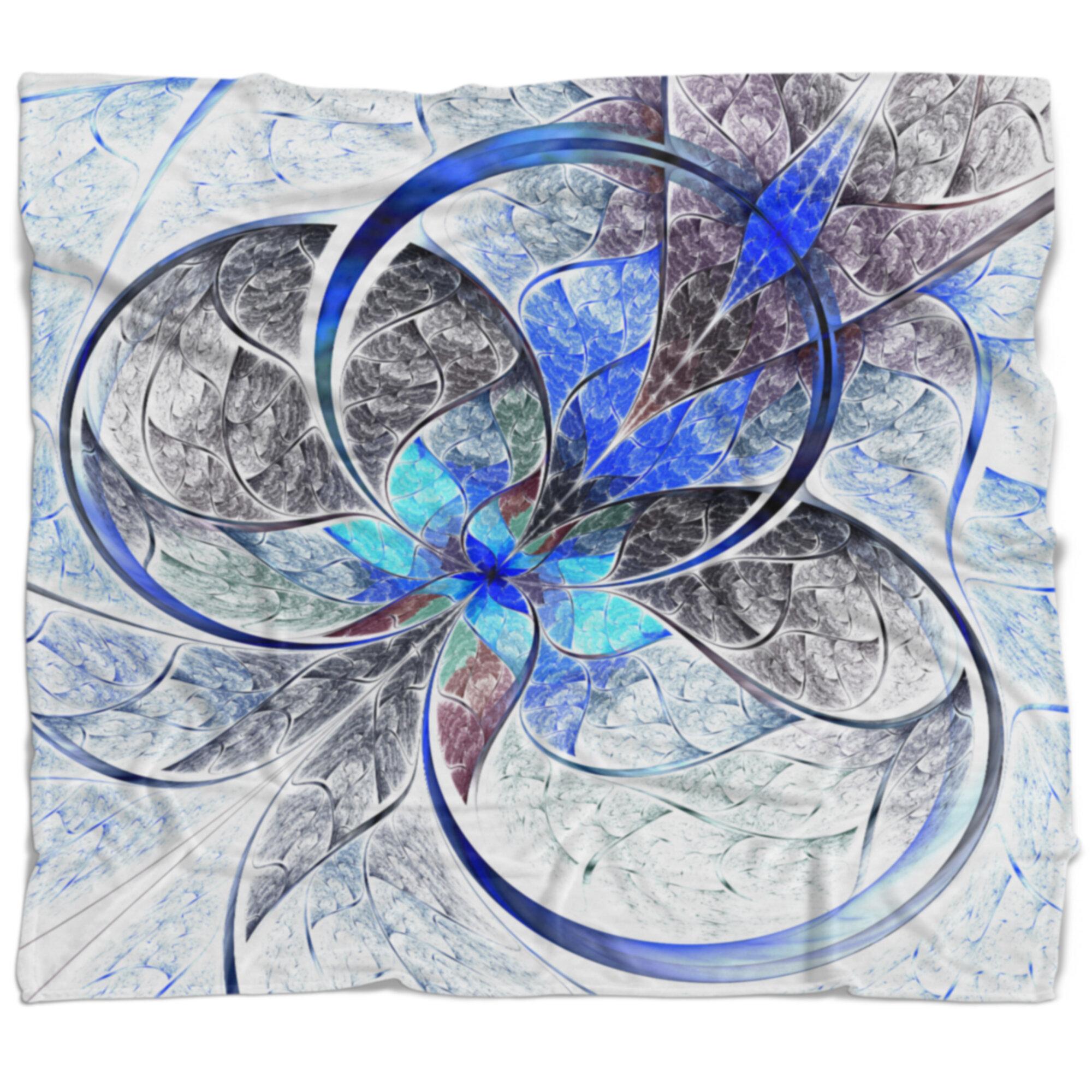East Urban Home Abstract Symmetrical Fractal Flower Blanket Wayfair